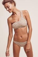 NEW ANTHROPOLOGIE Size S Small $150 Zulu & Zephyr Mocha Stripe Bikini Swim Top