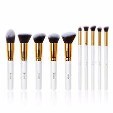 Jessup 10pcs Makeup Brushes Set Kabuki Foundation Cosmetics Tools White/Gold US