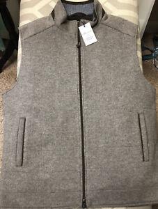 PETER MILLAR Crown Flex Fleece Vest Full Zip Grain Wool. Large.  $445