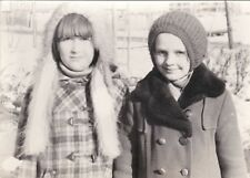 1980 RARE Girls friends in winter clothes fashion old Russian Soviet photo