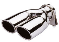 E-Tech Polished Stainless Steel Car Twin Oval Exhaust Tailpipe Replacement Tip