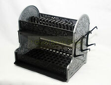 2Tier Plastic Dish Drainer 2 Drip Trays Cutlery Plates Rack Kitchen Black & Grey