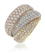 Pave Diamond 3-Tone Band 2.80ct F VS in 18ct Gold Chunky Wedding Ring 16mm Wide