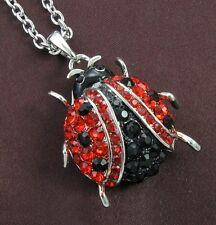 Ladybug Red Rhinestone Necklace Pendant Designer Charm