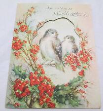 Vintage Christmas Greeting Card 1948 Birds Joy To You Cut Out Holly Berry