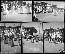 Défilé Folklore régional Espagne - Lot 5 anciens négatifs photo an. 1940 - 50