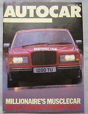 Autocar magazine 4/9/1985 featuring Bentley Turbo R, Panther De Ville, Cadillac