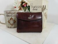 Vintage Bosca Rich Brown Leather Wallet Kiss Lock Coin Pocket Hand Stained Hide