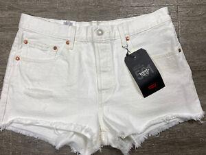 Levi's 501 Premium Midrise Ivory Denim Jean Shorts Button Fly Frayed Hem Size 30
