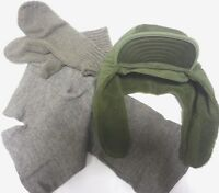 DANISH ARMY WINTER TRAPPER HAT CAP WITH EARFLAPS with scarf and gloves NATURAL