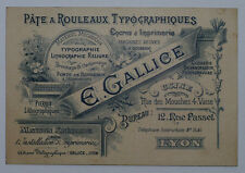 Carte de visite fin 19ème Typographie Gallice Lyon