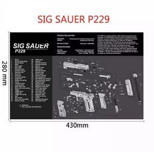 Gun Cleaning Mat Rubber Back High Quality - Sig Sauer P229 (Brand New)