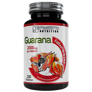 Guarana 180 Tabletten je 2000mg von Fat2Fit Nutrition Hochdosiert Koffein Diät