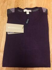 NWT Men's Burberry Crewneck Shoulder Check Sweater Dark Purple L