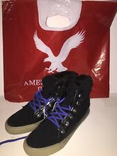 AMERICAN EAGLE OUTFITTERS Women's Lace-Up Sneakers Shoes BLACK Size 8 NEW Tags