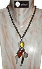 ETHNIC STYLE FRENCH SIGNED PHILIPPE FERRANDIS SILVER PENDANT NECKLACE