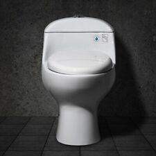 Modern Bath Vitreous China 1-Piece Dual Flush Elongated Toilet with Seat White