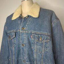 Vintage 90s Levis Jean Trucker Jacket XXL Shearling Lined Dark Wash Distressed