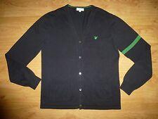 Men's Lyle&Scott Club Thin Navy Stripe V Neck Button Up Cotton Cardigan Size M
