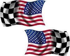 "2 - 4"" American Checkered Racing Waving Wavy Flag Decal USA Race Car Sticker RL"