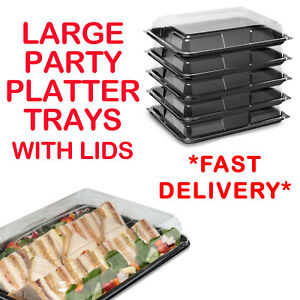 Large Plastic Catering Sandwich Platters Trays With Lids For Party Food Buffet