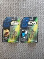 "Kenner 1997 Star Wars Potf 4-Lom 2 Rare Varient 3.75"" Figures New Sealed"