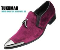 Men's burgundy Wine Loafers Dress Shoes Slip on's Metal Tassels and Toe TUXXMAN