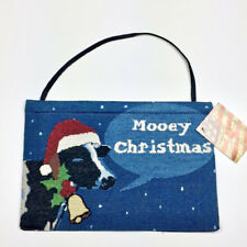 Mooey Christmas ~ Christmas Cow Mini Tapestry Bannerette Wall Hanging