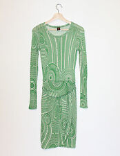 Jean-Paul Gautier Soleil Green Geometric Tribal Tattoo Print Knit Sheath Dress M