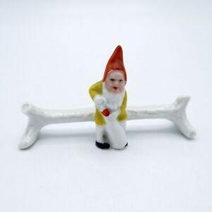 Antique Porcelain Gnome with Wine Bottle Kniferest, Knife Rest, NR