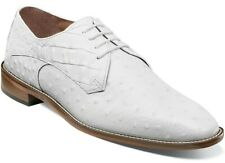 Men's Dress Shoes Plain Toe Oxford White Ostrich Print Leather STACY ADAMS 25273