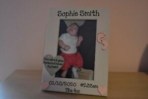 Personalised wooden photo frame - new born baby boy girl christening naming gift
