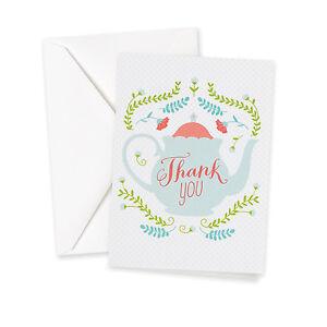 Tea Time Teapot Thank You Cards Wedding Bridal Shower Thank You Notes 25/pk