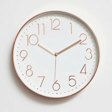 "Modern Wall Decoration 12"" Silent Non-Ticking Wall Clock with Rose Gold Frame"