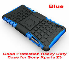 Blue Heavy Duty Strong Tradesman TPU Hard Case Cover Stand For Sony Xperia Z3