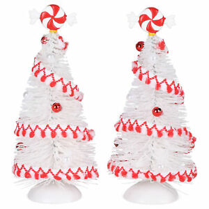 White Red Peppermint Striped Sisal Tree 6 inch Sisal Tabletop Figurine Set 2