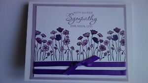 Handmade Sympathy Card With Poppies Lavender Using Stampin Up Poppies