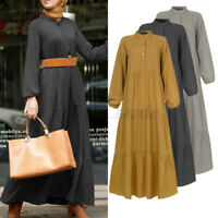 UK Womens Long Sleeve Tiered Layered A-Line Kaftan Abaya Muslim Tunic Maxi Dress