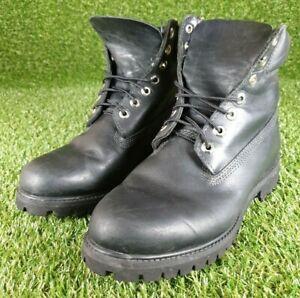 Mens timberland premium 6 Inch Black leather Nubuck boots Size Uk 8W
