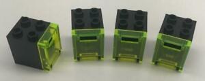 4 Lego Black w Trans-Neon Green Door 2x2x2 Container Boxes Lot: 4345 4346