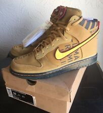 Authentic Nike Dunk High Premium Qs Sb Galaxy Flight Gold Total Orange Size 10