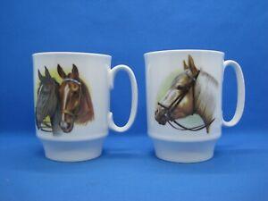 2 Royal Windsor Coffee Mugs Fine Bone China England Horses