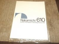 Nakamichi 610 preamplifier owners manual  original