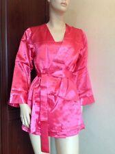 Stunning Pink Satin Silk Feel Short Dressing Gown, Robe & Thong Set Pink