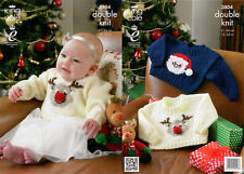King Cole DK Pattern 3804 Childs Santa Christmas Sweater 12-22 Inch Chest
