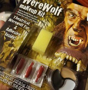Living Nghtmare Werewolf Costume Makeup Kit TEETH FUR BLOOD CAPS!