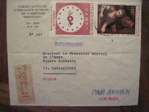 1969 Mauritanie flight FRANCE cover Air Mail CARCASSONNE Par Avion AMBASSADE