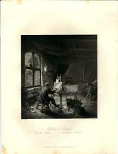 Stampa antica IL PITTORE ADRIAN van OSTADE nel suo studio 1850 Old antique print