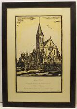 """""""Liane Dutt 1922 - 1936 Confirmee - Kirche  """"Holzschnitt sign.L.Bust in Rahmen"""
