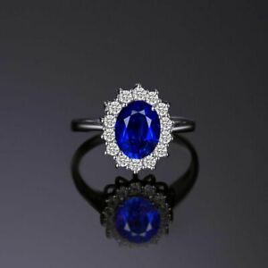 Created Blue Sapphire Princess Crown Engagement Wedding Ring 925 Sterling Silver